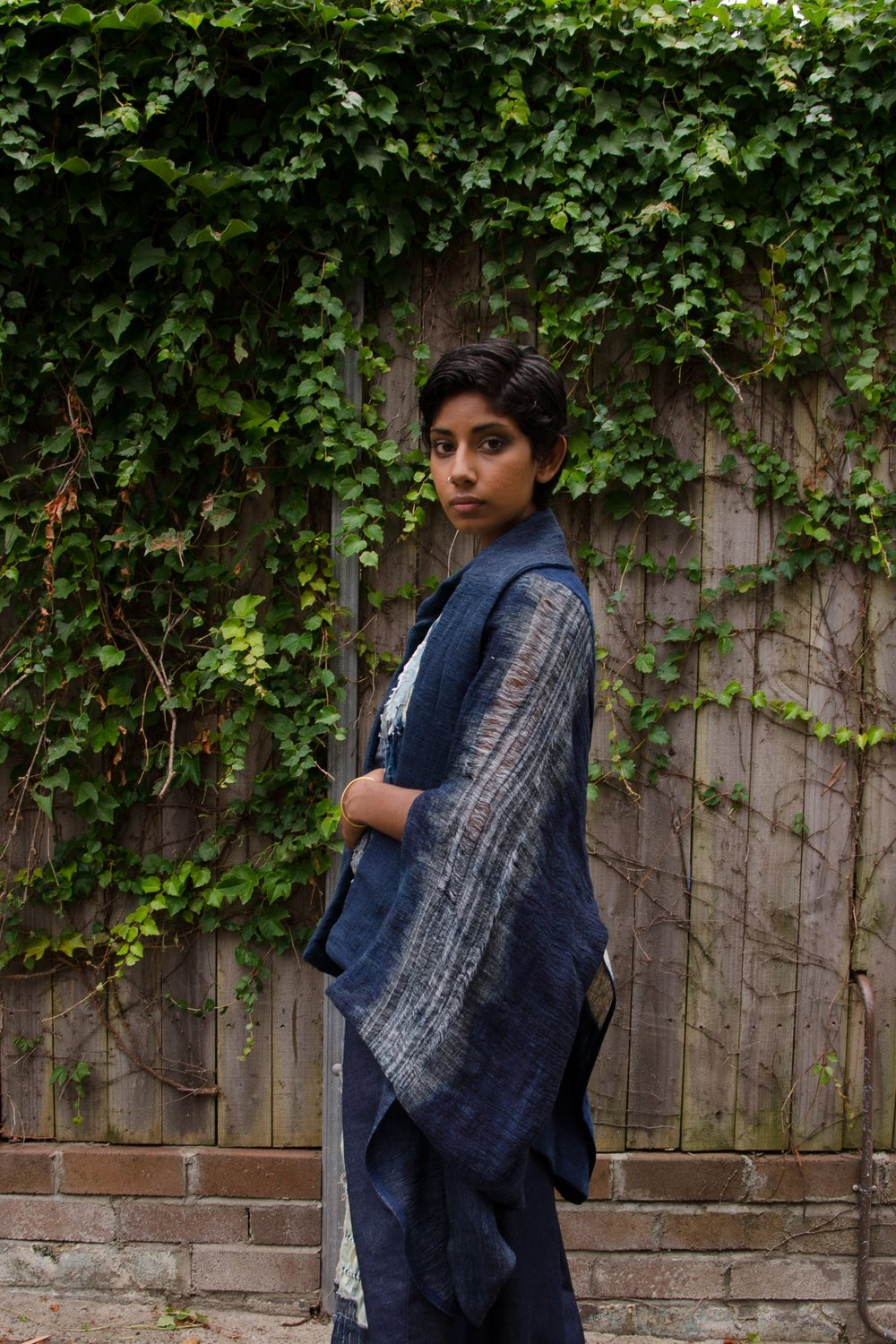 Indigo Shibori draped Jacket