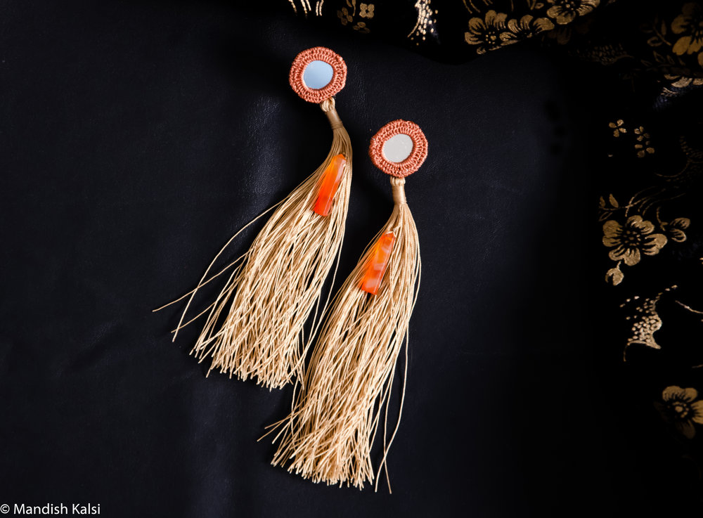 Ira earrings  Embroidered mirrors with Carnelian stones and tassels.