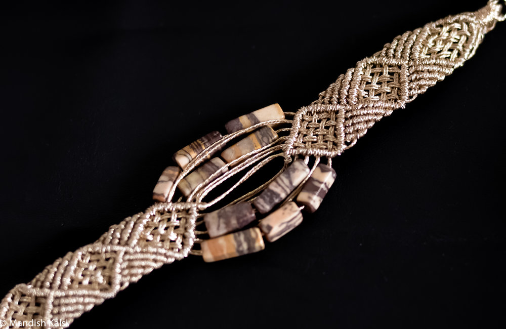 Enam bracelet  White gold macrame with marble stones.