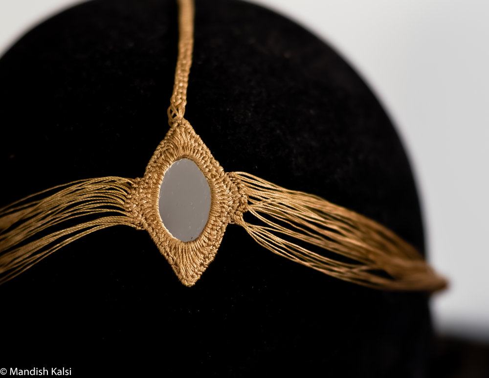 Reya Headchain  Embroidered mirror with thread chain.