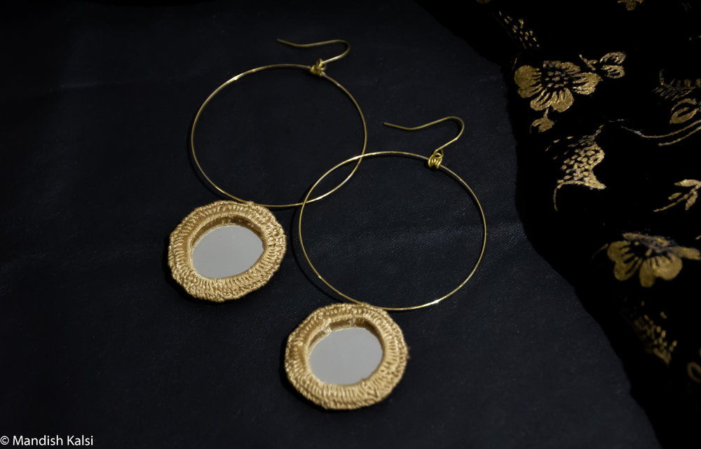 Aylah earrings  Embroidered mirrors on brass hoops.