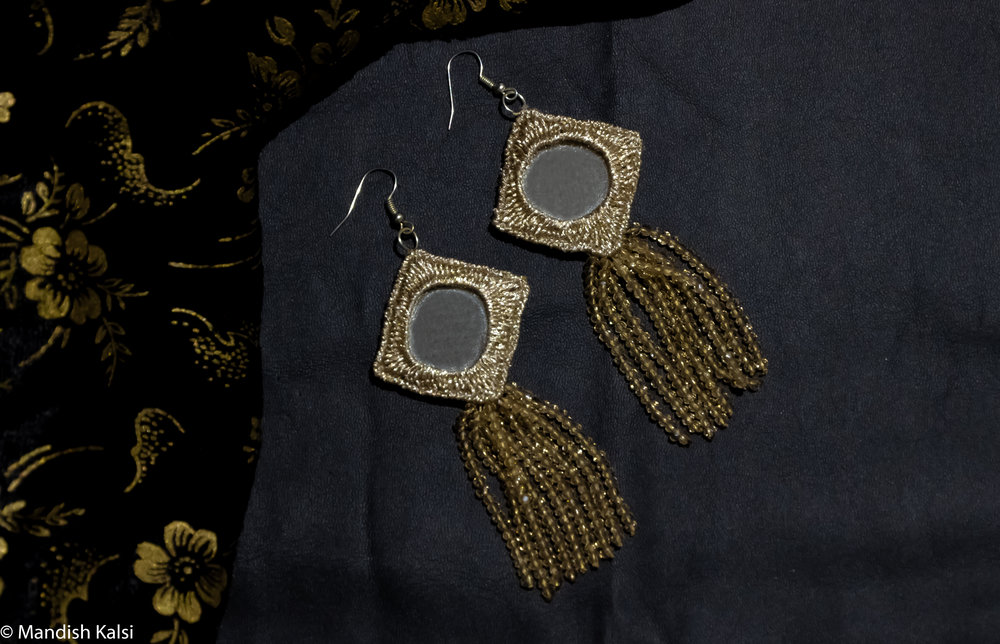 Siria earrings  Embroidered mirrors with crystal bead tassels