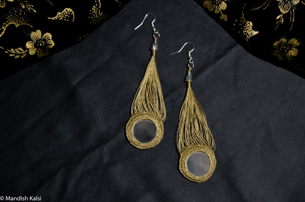 Oria earrings  Hanging embroidered mirrors