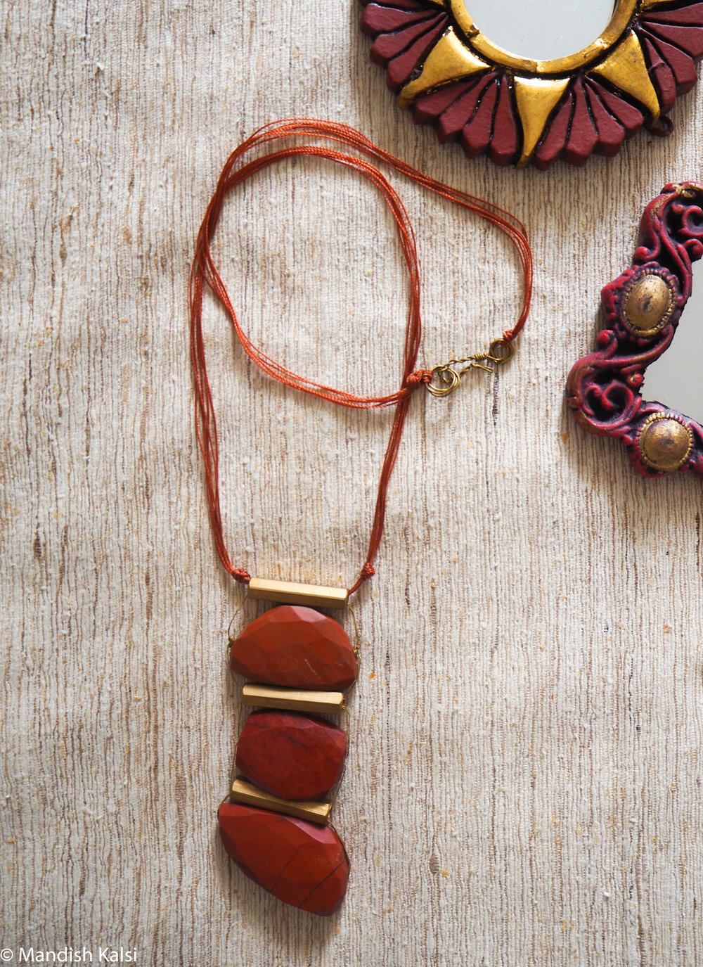 Kura pendant  Red Jaspar stones with brass tubes and thread chain.