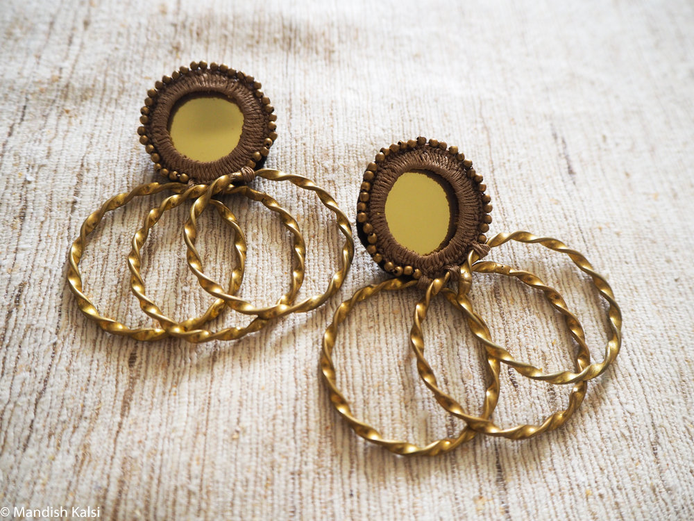 Ofira stud earrings  Embroidered mirrors with brass beads and hoops.