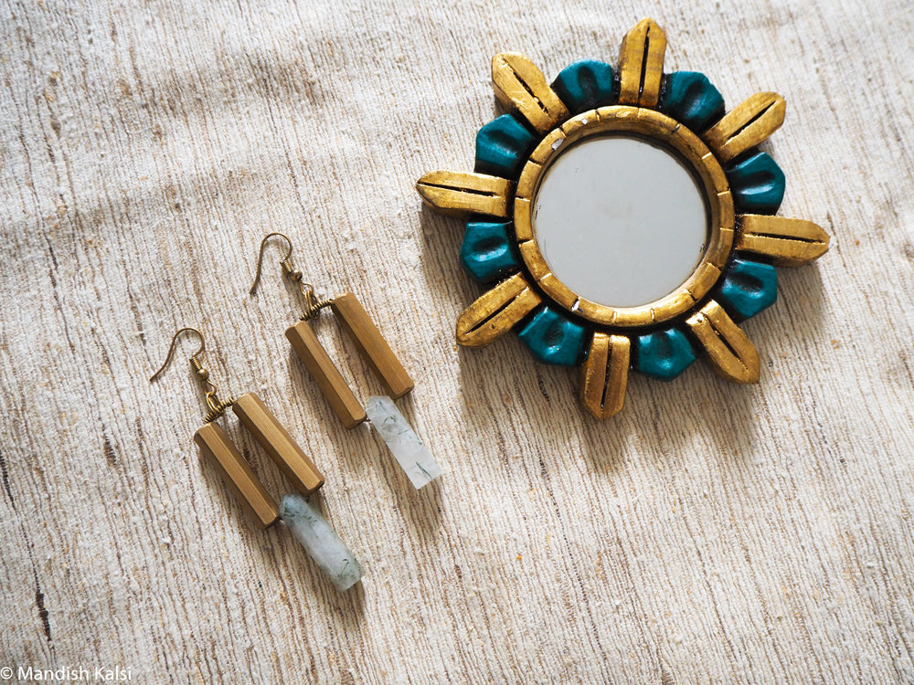 Aura earrings  Brass tubes with green rutilated Quartz crystals.