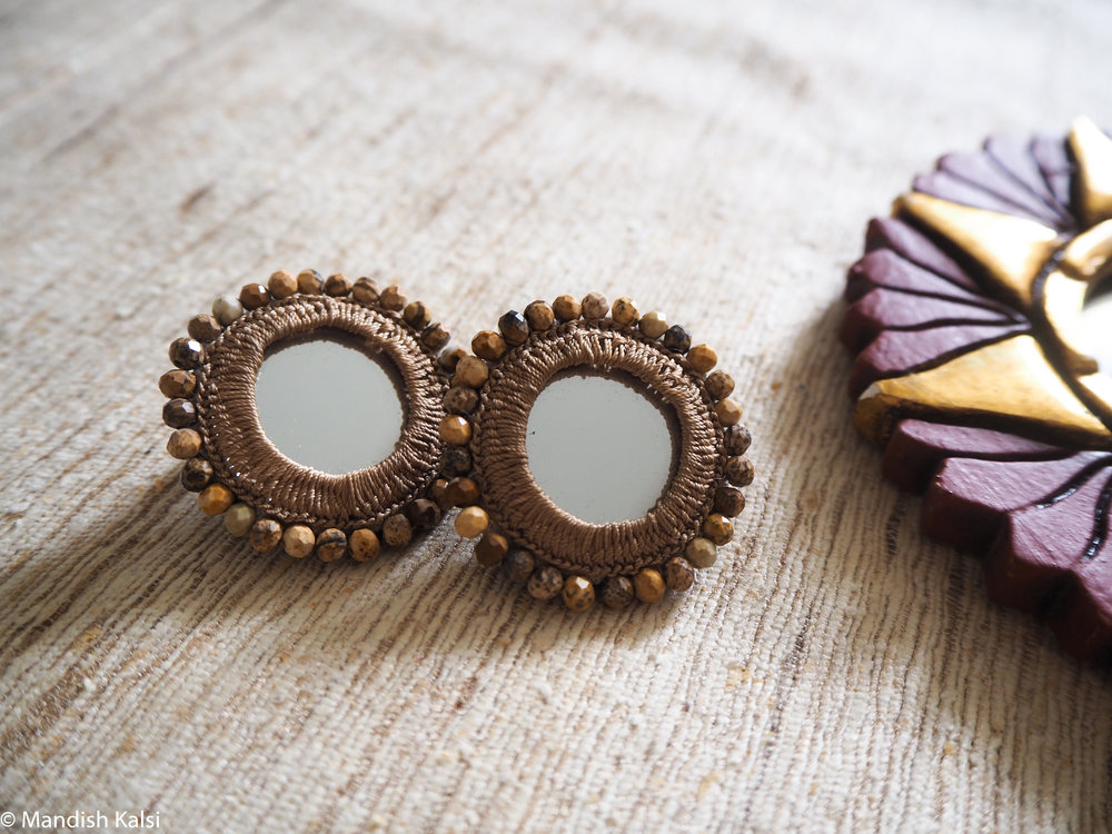 Chakra stud earrings  Embroidered mirrors with marble crystal beads