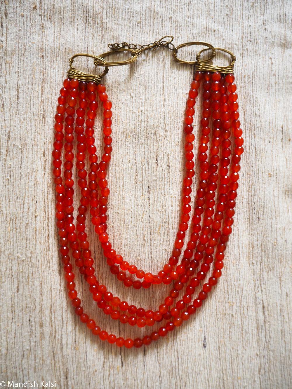 Edana necklace  Layered Carnelian beads.
