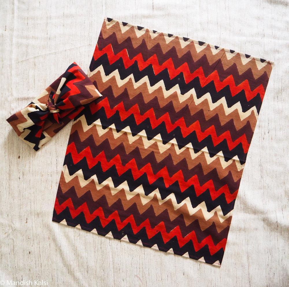 Multi colour chevron print - Headscarf / Neckerchief