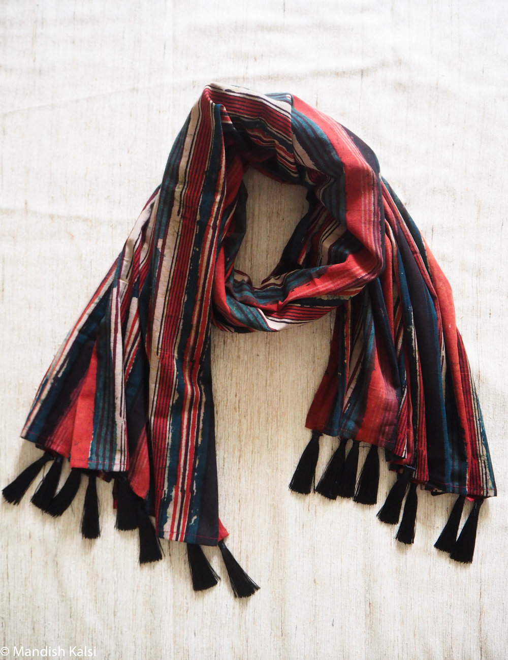 Layered multi-colour stripe print - Large scarf with tassels