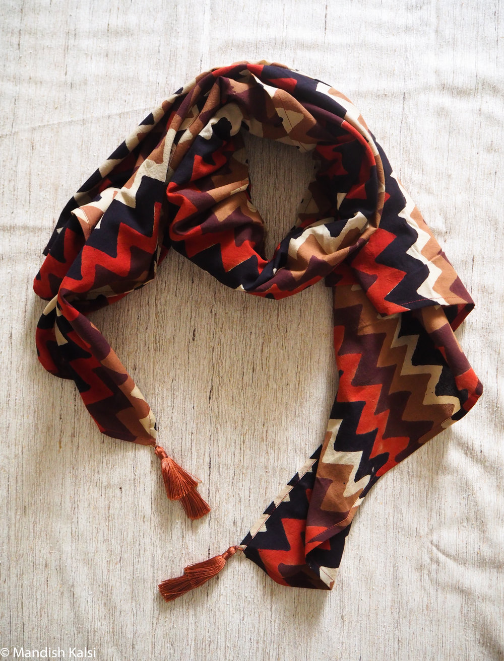 Multi-coloured chevron print - Large scarf with tiered tassels