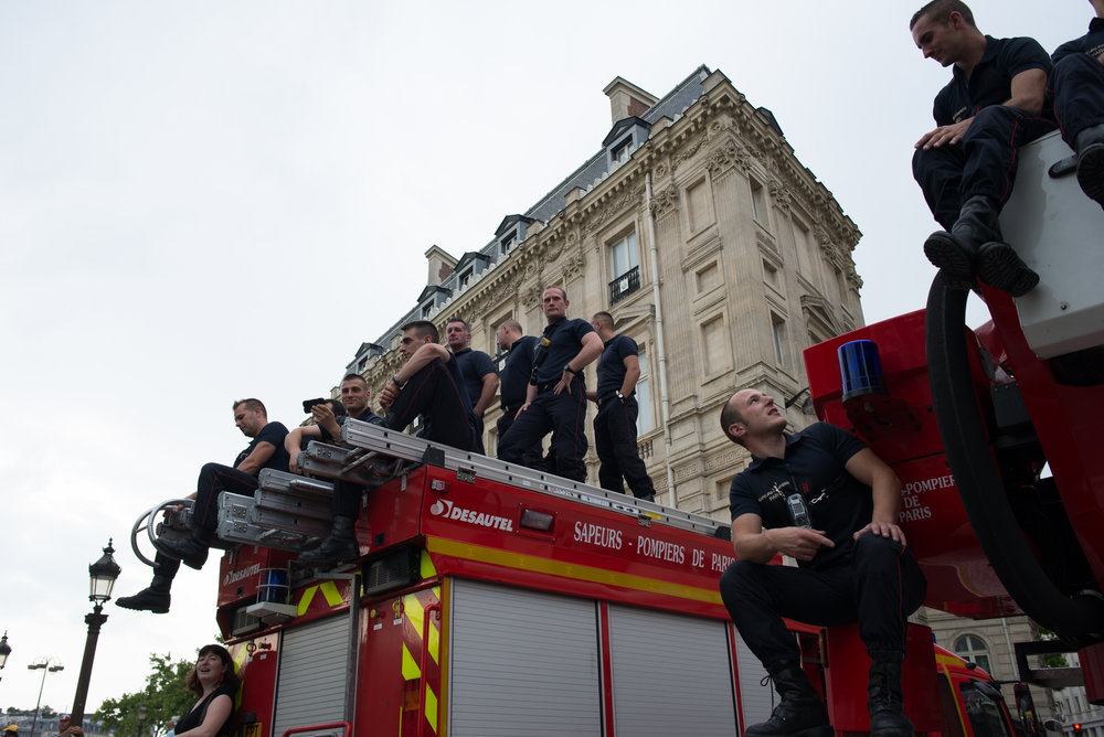 Firefighters getting a better view of the Tour de France
