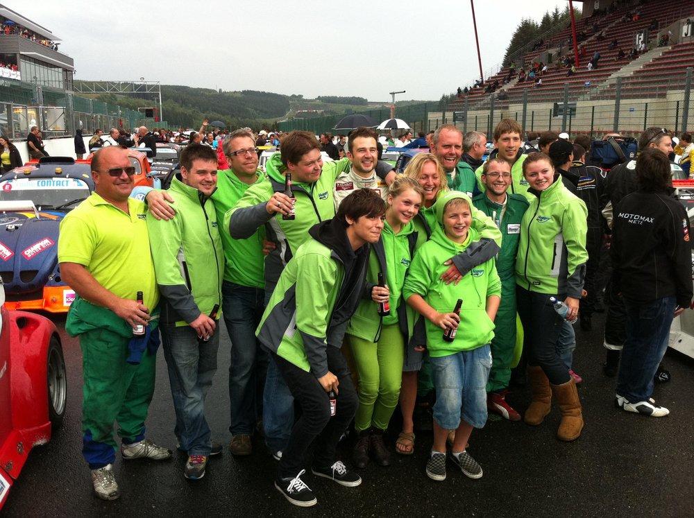 The Happy Racing crew. Happy.