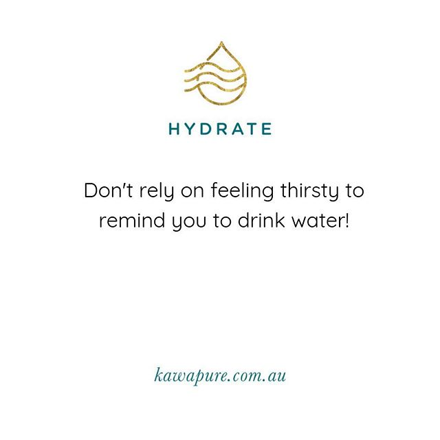 Dehydration begins when we are just 1% volume depleted, but thirst doesn't set in until we are about 2% volume depleted.  By then, we may have already started to experience cognitive impairments such as anxiety, agitation, trouble thinking clearly and decreased energy levels.  Try one of these simple methods to master a hydration habit that lasts for life. 💦  Keep it visible: Fill your water bottle in the morning and keep it close by as a reminder. Bring it with you when you leave the house and aim to refill it three times a day.  Add flavour: Try adding lemon, sliced fruit, or your favourite essential oil to add flavour and extra health benefits. My favourite to add is wild orange essential oil as it contains powerful antioxidants, a burst of flavour and is uplifting and energising.  Repay what you owe: your constantly losing water through perspiration, urination and even breathing. Focus on taking small sips throughout the day and add a glass after any exercise or outdoor activity in the heat. #kawapurewater #kawapuretips