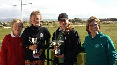 L-R Sue Wilson MWCGA President, Addie Francis, Darcey Harry, Lady Captain Aberdovey Golf Club