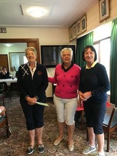 Barbara Reece of Borth and Ynyslas (L), Margaret Bowen, MWCGA Vice-Captain and Gail Beaurain, St. Idloes Club Chairman
