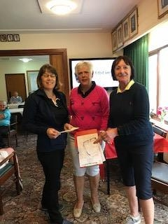 Celia Speake of Builth Wells (L), Margaret Bowen, MWCGA Vice-Captain and Gail Beaurain, St. Idloes Club Chairman
