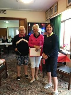 Kim Allen of Builth Wells (L), Margaret Bowen, MWCGA Vice-Captain and Gail Beaurain, St. Idloes Club Chairman