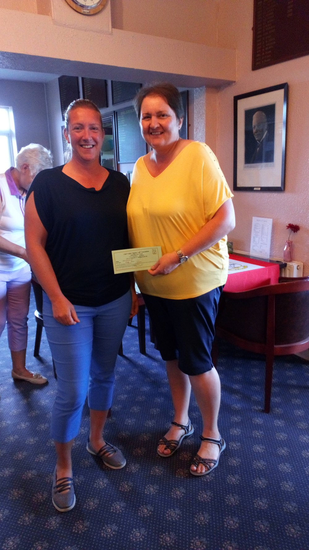 Mags Jones of Cradoc (R), third in the Silver Division, with Ellen Jones of Welshpool. Mags also won nearest the pin, kindly given by Welshpool GC.