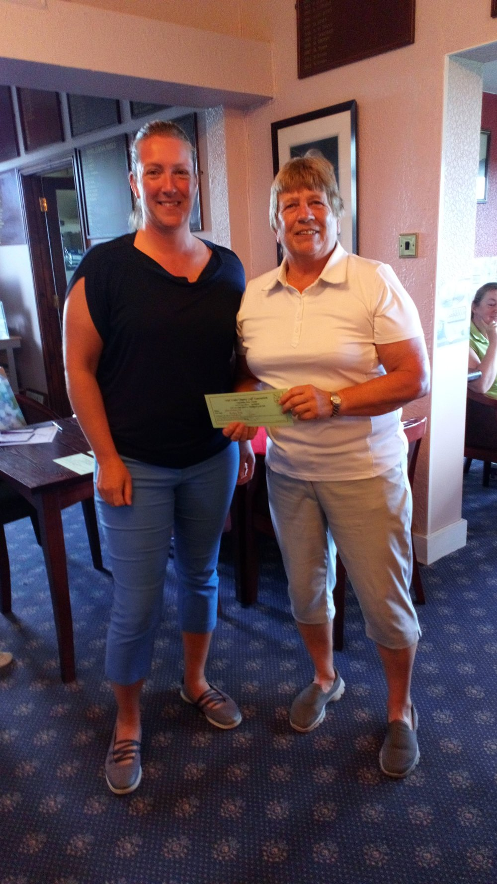 Kathy Price of Borth and Ynyslas (R), fourth in the Silver Division, with Ellen Jones of Welshpool.