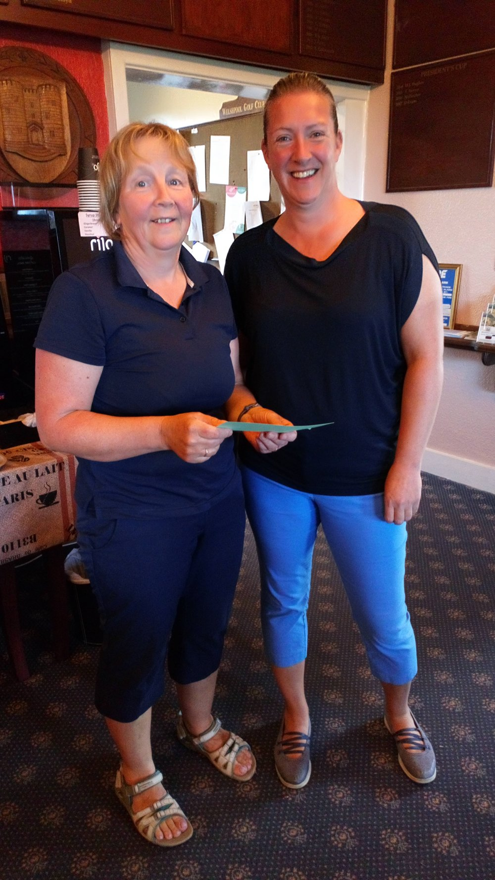 Pam Lewis of St. Giles (L), 3rd in the Bronze Division, with Ellen Jones of Welshpool.