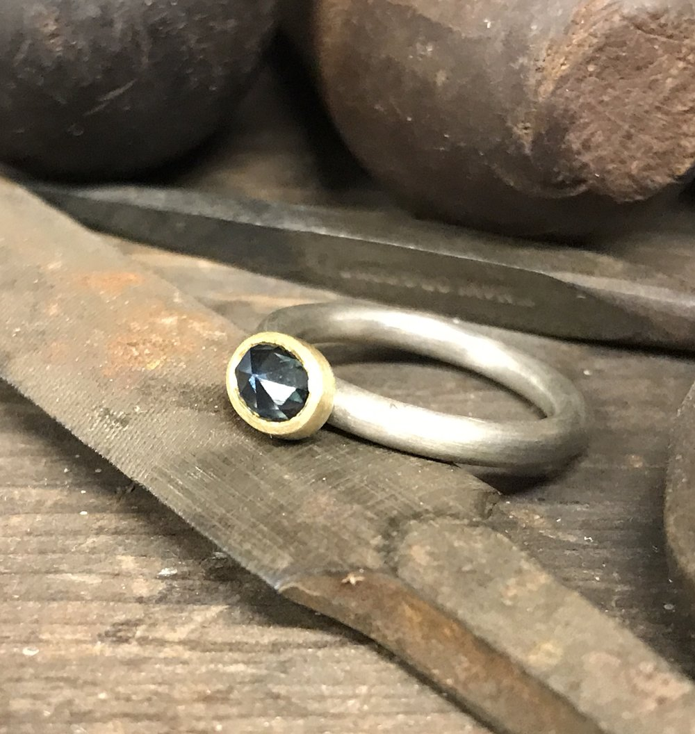 MN8 - Silver, Gold, Rose Cut Sapphire Ring  Size K*