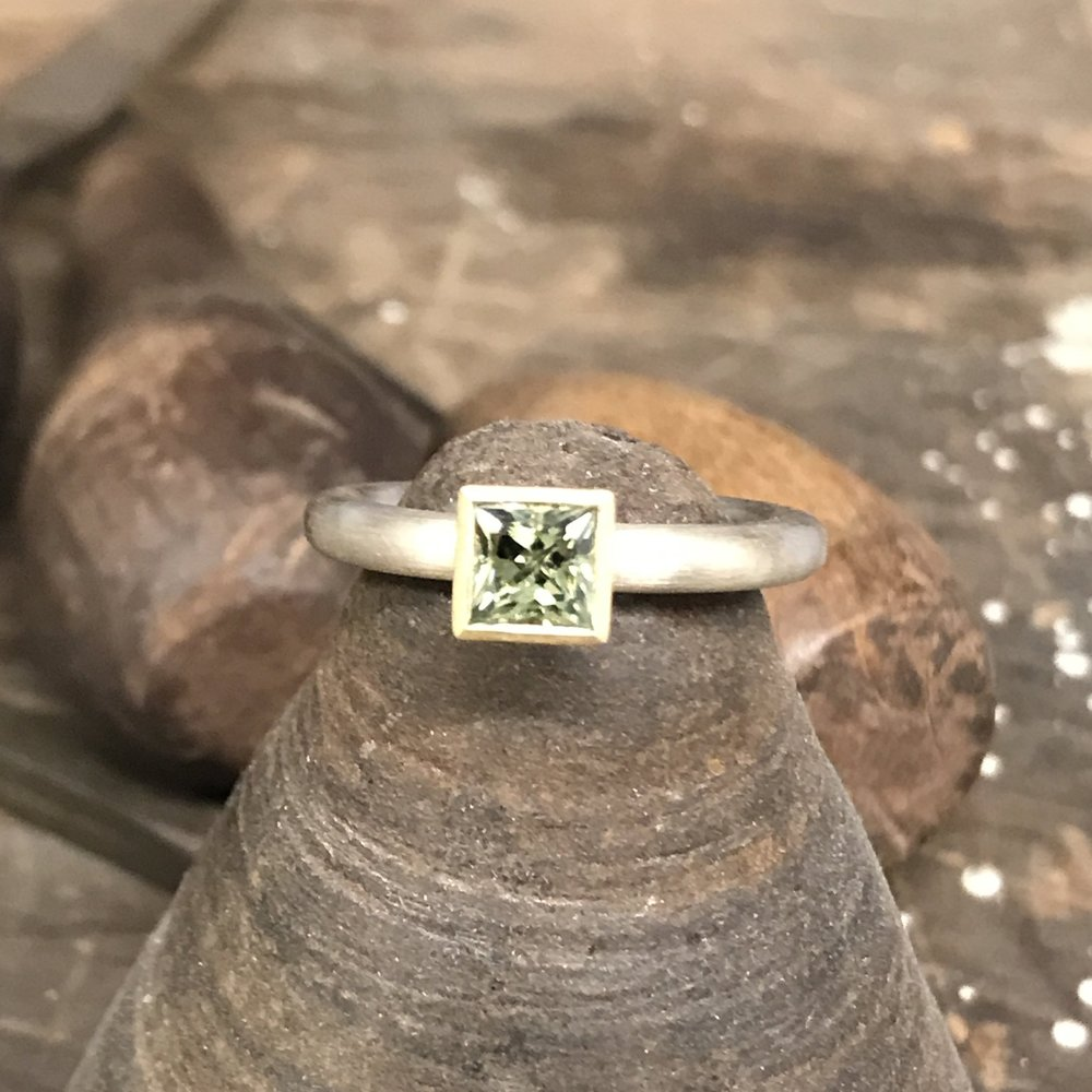 MN5 - Silver, Gold, Green Sapphire Ring  Size O 1/2*