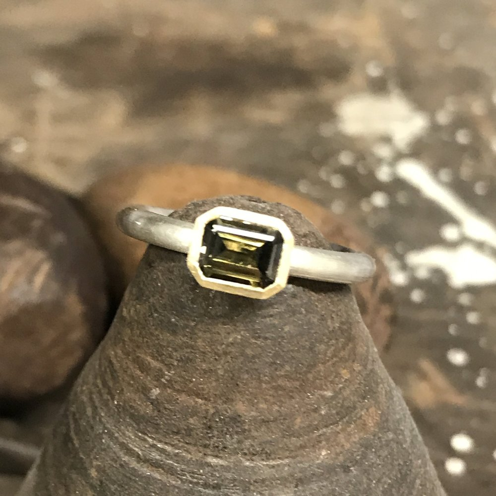 MN6 - Silver, Gold, Sapphire Ring  Size L 1/2*
