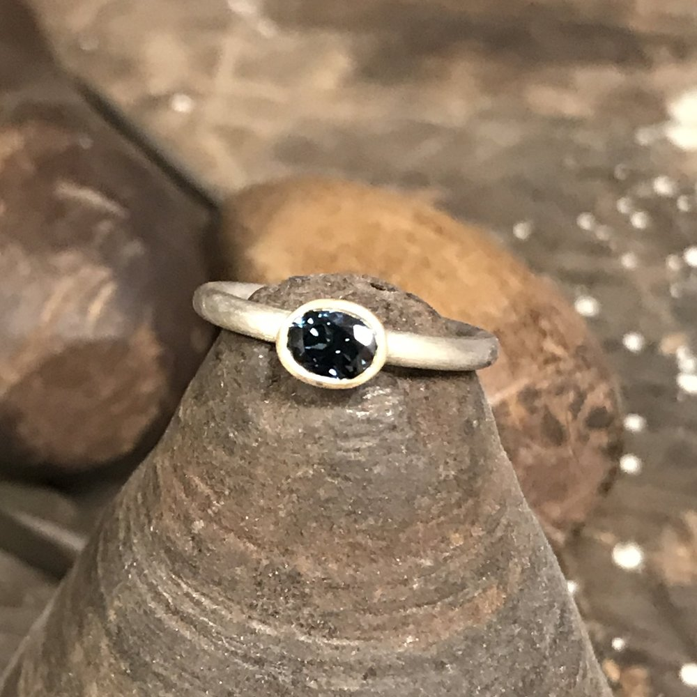 MN9 - Silver, Gold, Sapphire Ring  Size H*
