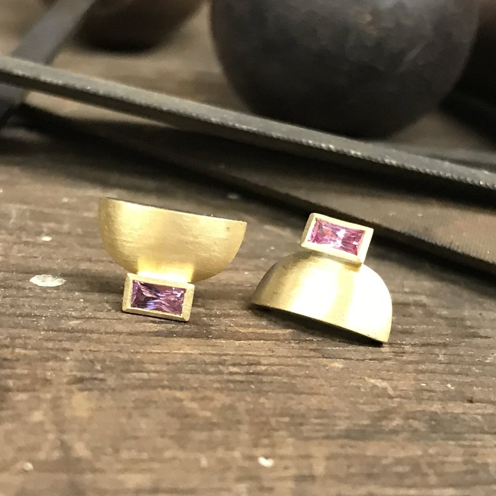 MN12 - Silver, Gold, PinkTourmaline Earrings  Size 11mm x 8mm
