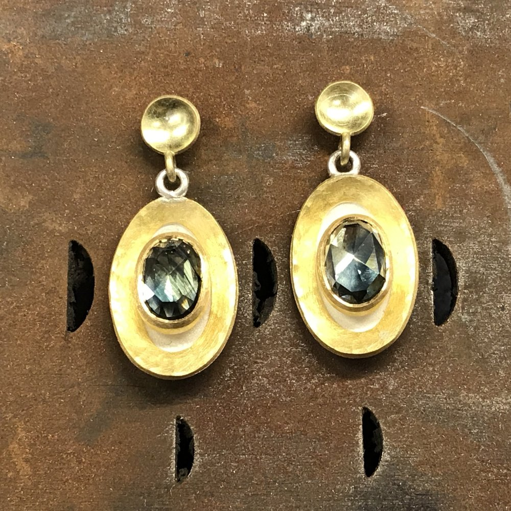 MN15 - Silver, Gold, Sapphire Earrings  Size 25mm x 11mM