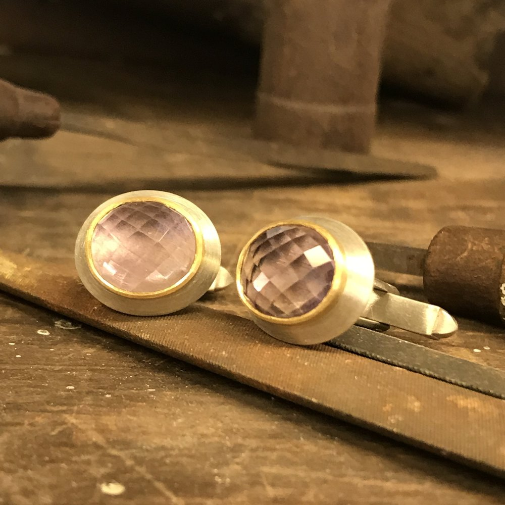 MN21 - Silver and Gold, Amethyst Cufflinks  Size 16mm x 14mm
