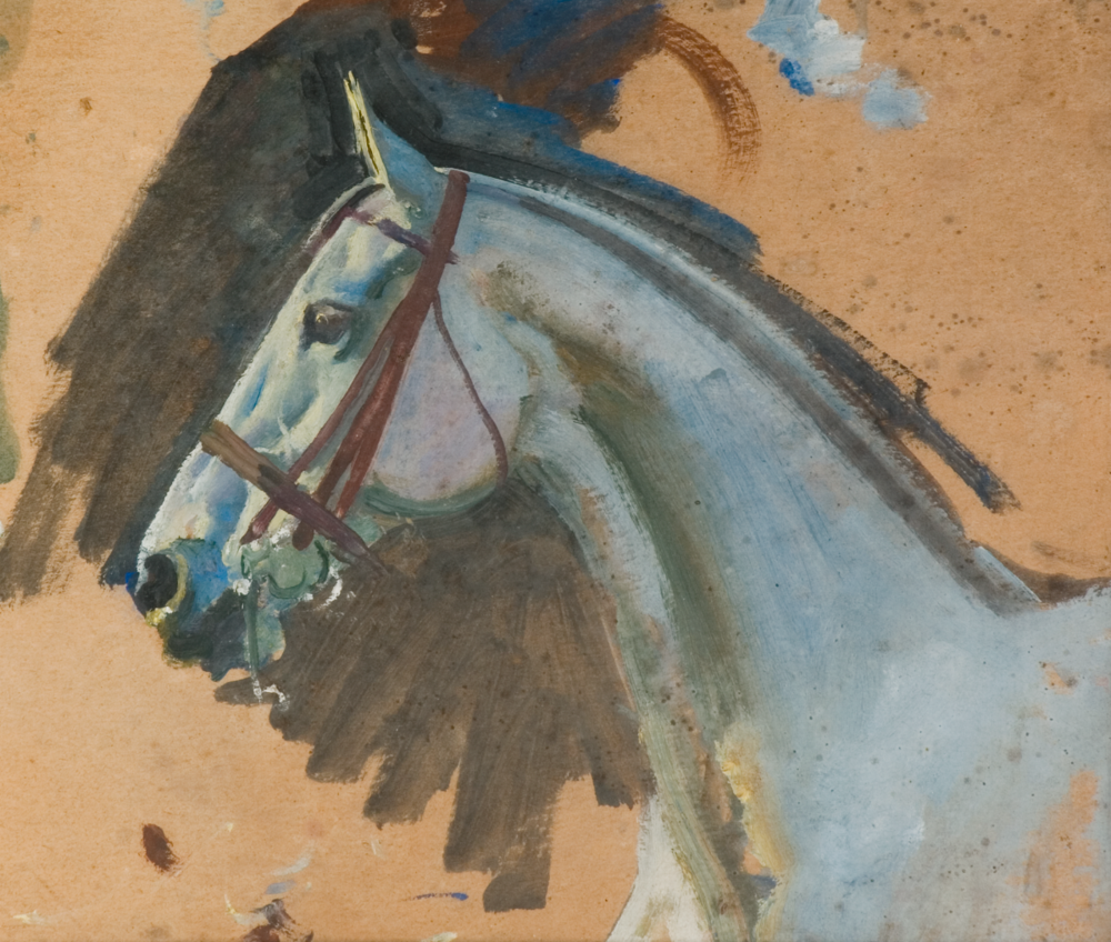 Extract from 'Studies of a Grey Mare's head' © 'The Estate of Sir Alfred Munnings'