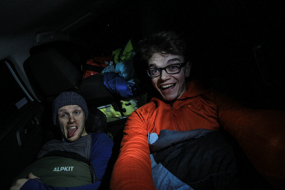 A surprisingly comfy night in the back of the hire car.
