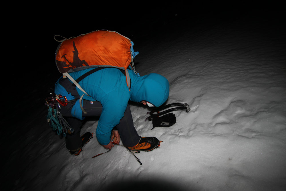 About 4:30am, donning crampons below the start of Castle Ridge. Fantastic, firm névé underfoot.