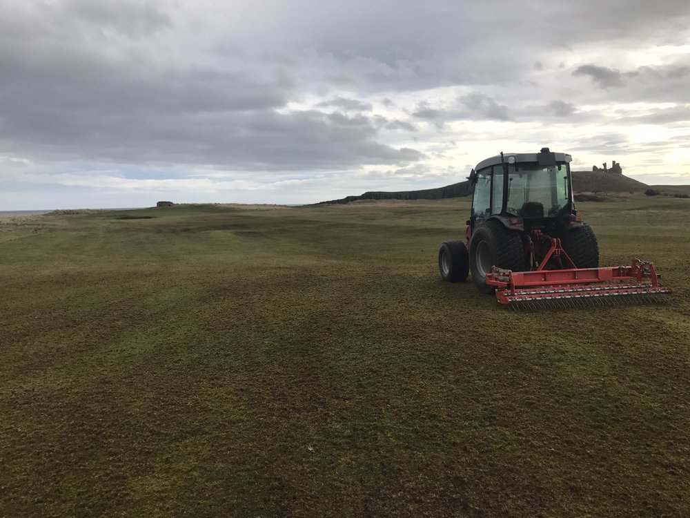 Terra raking fairways, this removes all the dead organic material from last years drought to allow new grass to grow. It never looks pretty but trust us it will make a huge difference in the road to recovery.
