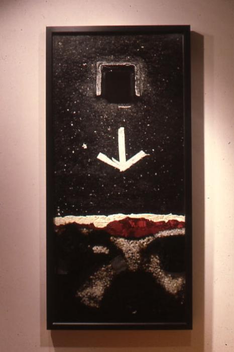 "Void , 2001, 74"" x 36"", Mixed Media, Thermal Pane Glass, Mural Photograph, Sea Salt, Tar, Satin"
