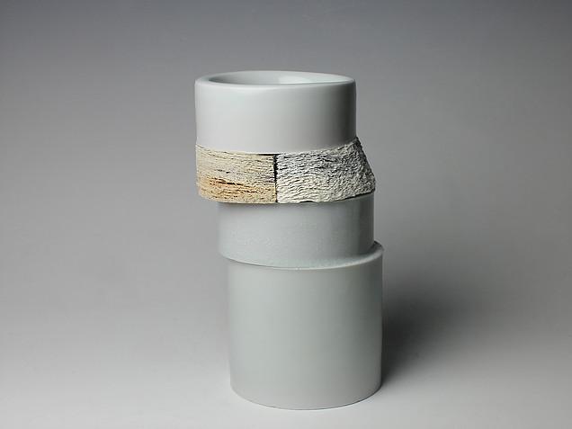Jongjin Park,  Definitely Ceramics II , 2014 Porcelain, stoneware with newspaper, celadon glaze