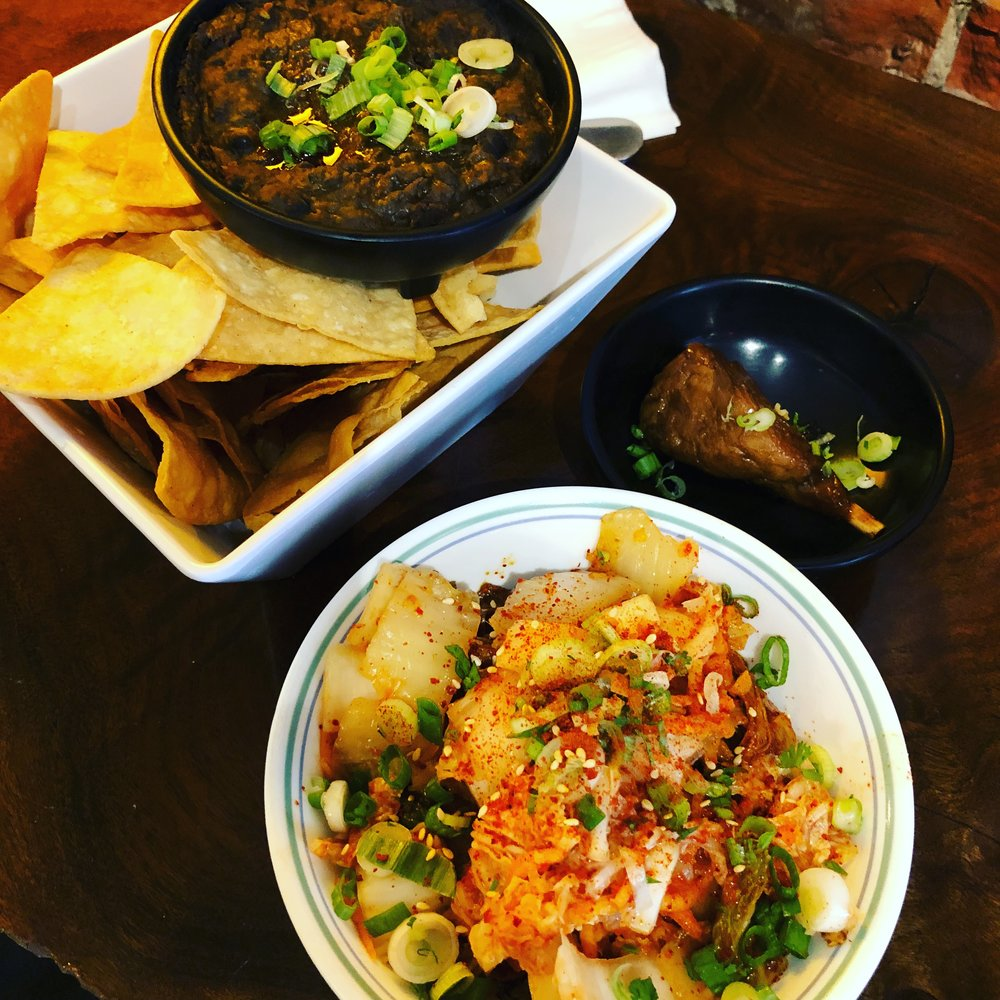 Black bean dip, kimchi quinoa, vegan soy drumstick
