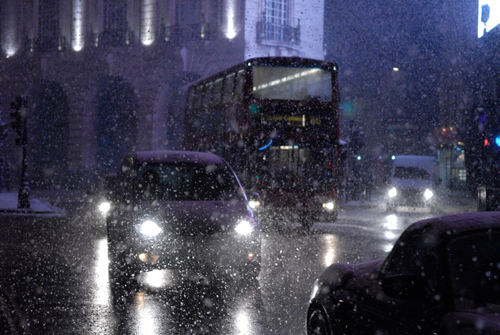 Blizzard traffic at Piccadilly Circus