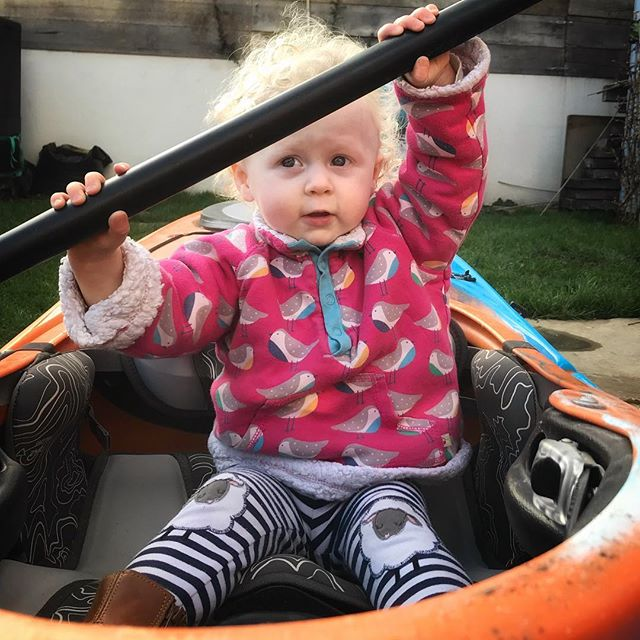 The weather was so bad last Friday that we decided to postpone our journey to Cornwall by a day or two. By Sunday the weather improved but flu struck the household! It's Wednesday now and the closest we've got to the great outdoors is in the garden when Wren sat in my canoe for the first time. Hoping she's a natural as the first thing she did was pick up the paddle and adopt the brace position! Every cloud etc! #firstworldproblems #kayak #pyranhakayaks #toddlerlife #iphoneonly #sealife