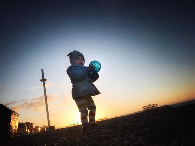 Baby and ball on Brighton beach. #brighton #beach #toddler #iphoneonly #snapseed #greatday #behappy