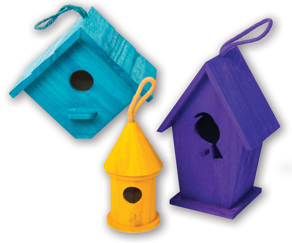 Birdhouses dyed<br>with Basic Dyes