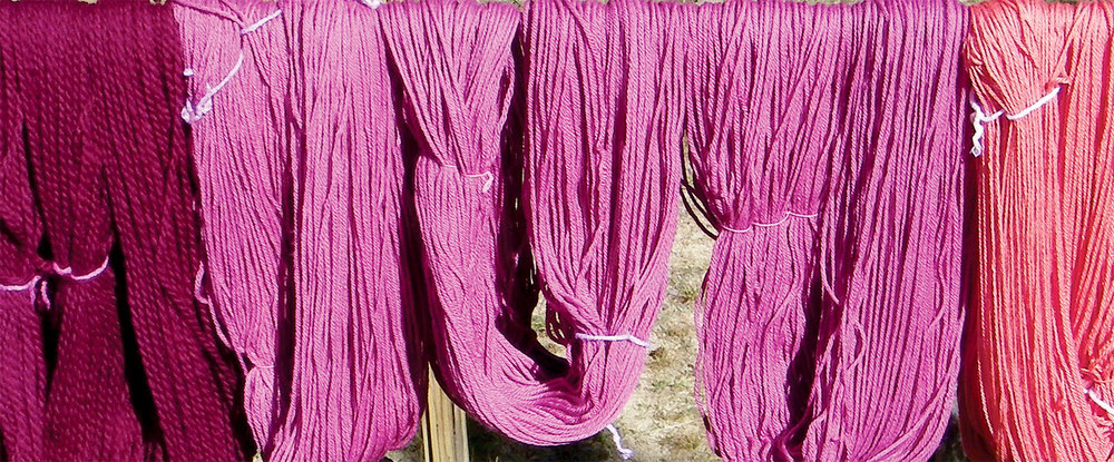 Yarn dyed with Cochineal