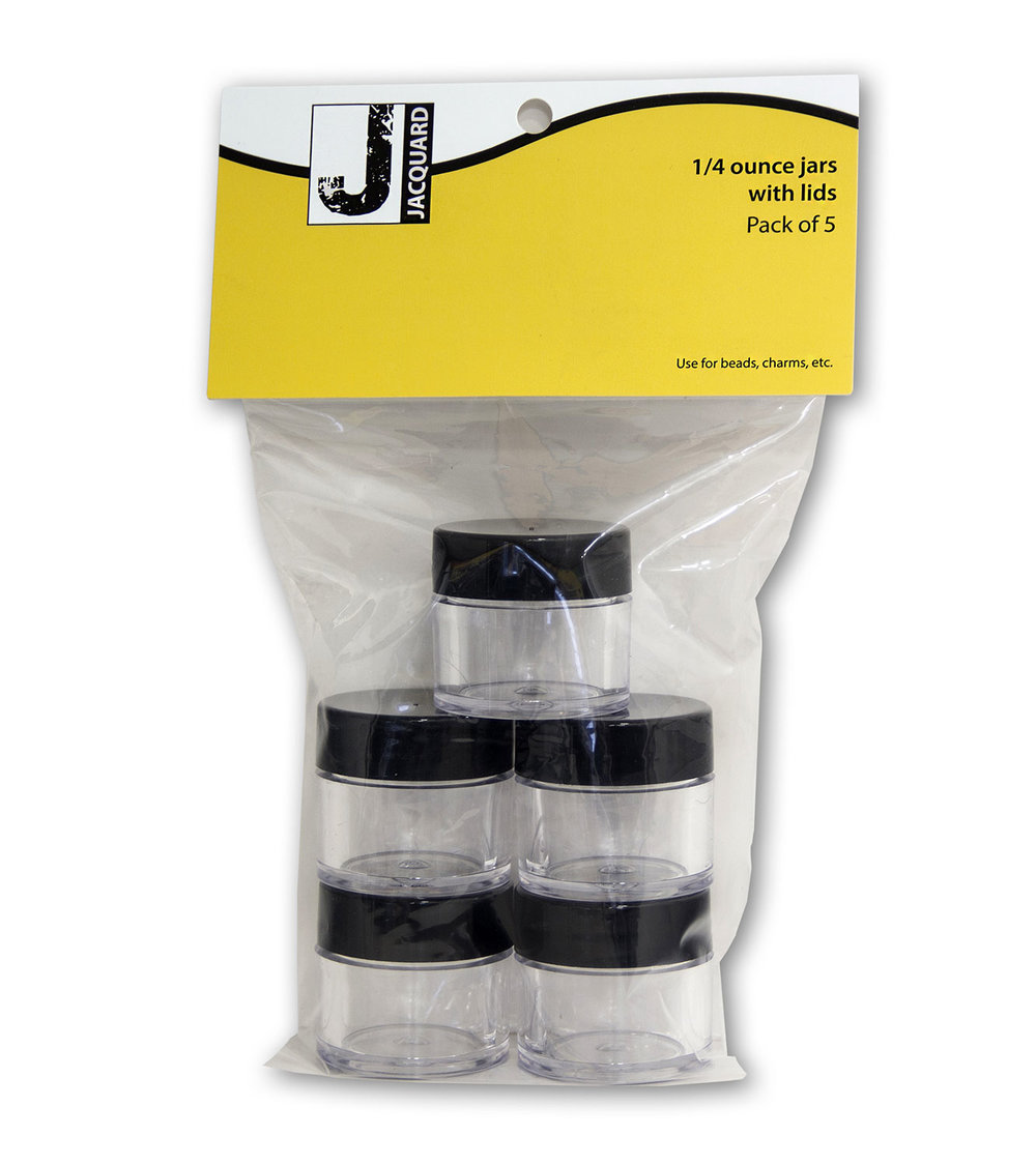 1/4 oz Clear Jars 5-Pack#(plastic wide-mouth w/lids - peggable)#Item ACC3790