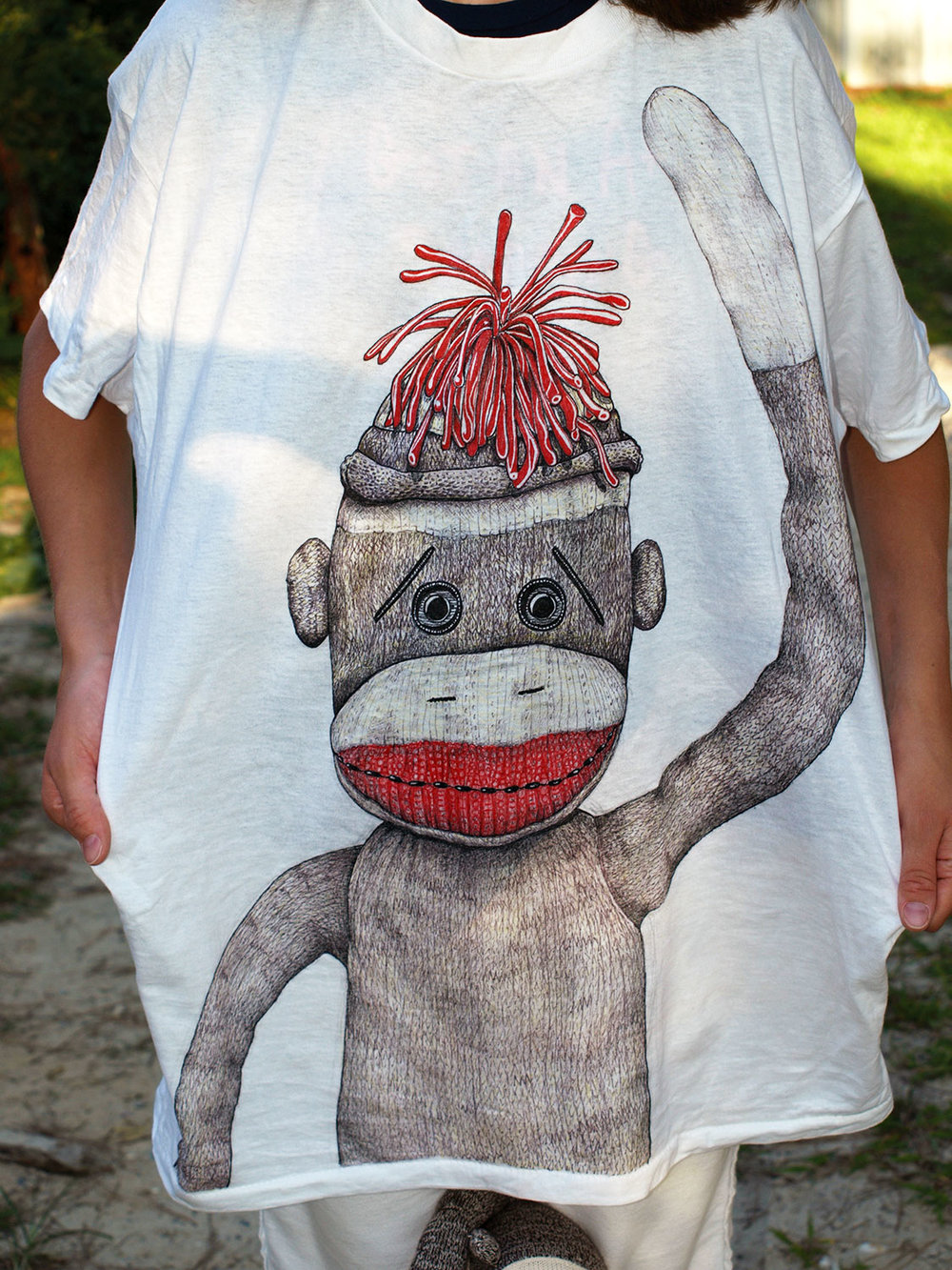 """Sock Monkey"" T-shirt<br>drawn with Tee Juice Markers by Kaili Scooter"
