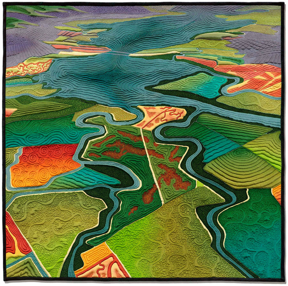 """""""Fields of Salt""""<br>stitched painting on silk<br>30""""x30"""""""