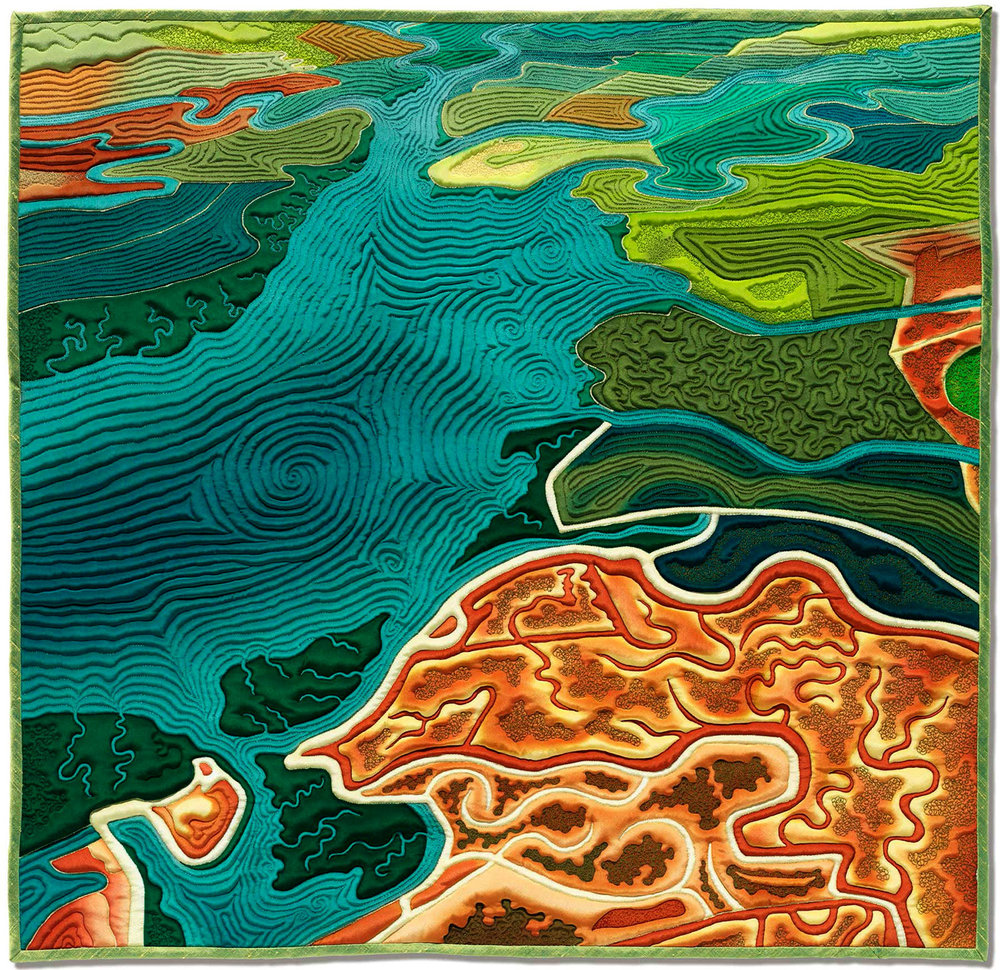 """""""South Bay""""<br>stitched painting on silk<br>30""""x30"""""""