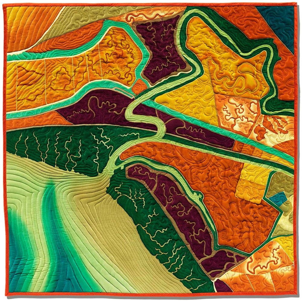 """""""Threading the Past""""<br>stitched painting on silk<br>30""""x30"""""""