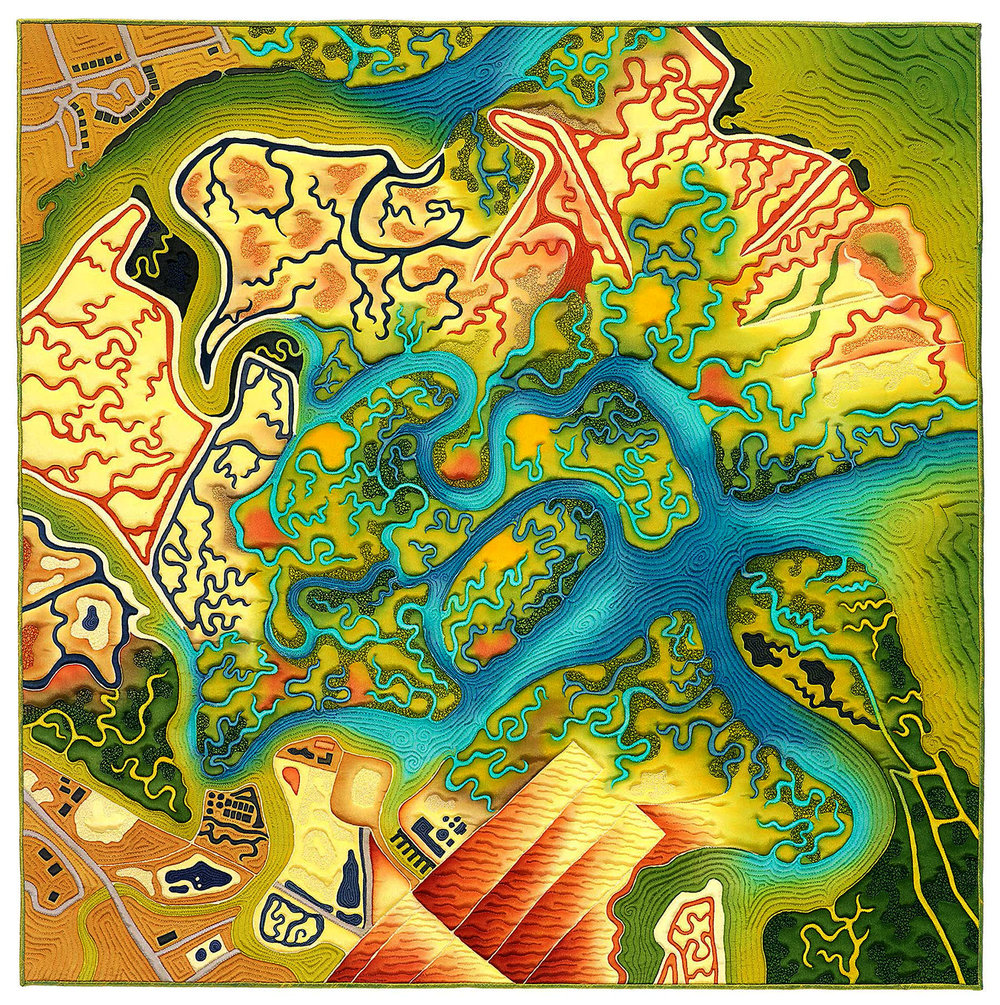 """""""Wetlands Take Over""""<br>stitched painting on silk<br>30""""x30"""""""